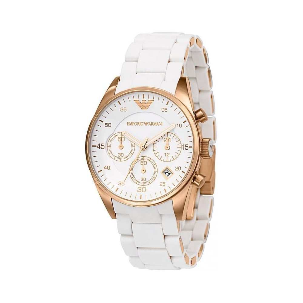 eb1fa68b52 Emporio Armani Ladies White Tazio Watch AR5920 - Womens Watches from ...