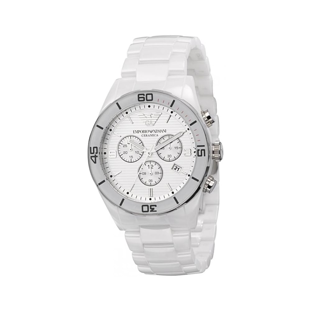 06b97fd3634f2 Emporio Armani Mens White Ceramica Watch AR1424 - Mens Watches from ...