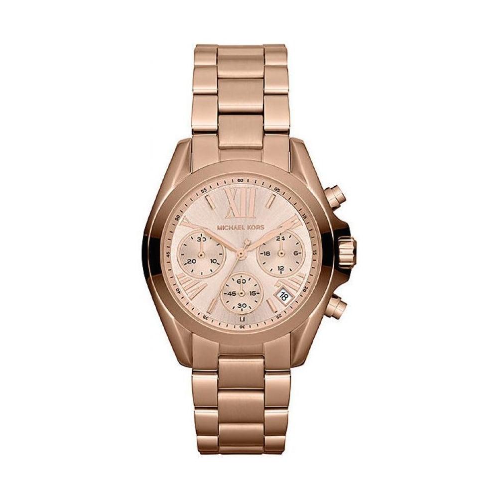 9a31b505da92 Michael Kors Ladies Rose Gold Bradshaw Mini Watch MK5799 - Womens ...